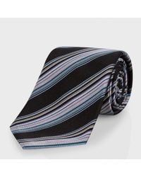Paul Smith Black Diagonal-Stripe Classic Silk Tie - Lyst