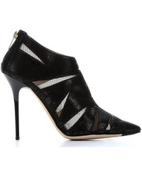 Jimmy Choo Black Fabric and Snake Print Suede Warrant Rear Zip Ankle Booties - Lyst