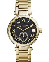 Michael Kors Mid-Size Golden Stainless Steel Skylar Three-Hand Glitz Watch - Lyst