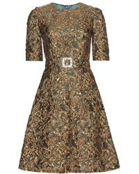 Dolce & Gabbana Green Brocade Dress - Lyst