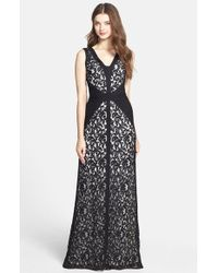 Tadashi Shoji Lace & Jersey Gown - Lyst