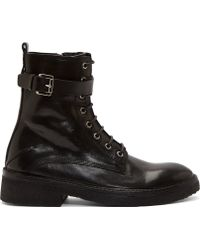 Costume National Black Leather Buckle Combat Boots - Lyst