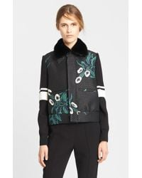 Marni Women'S Mokara Print Bonded Raffia Jacket With Genuine Mink Fur Collar - Lyst