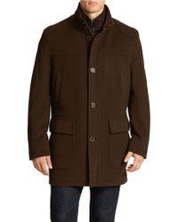 Cole Haan Wool-blend Bib Topcoat - Lyst