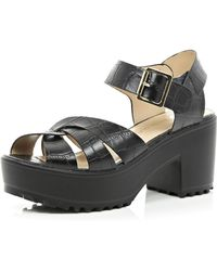 River Island Black Cross Strap Cleated Sole Sandals - Lyst