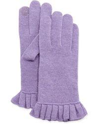 Portolano Cashmere-Blend Ruffle Tech Gloves purple - Lyst