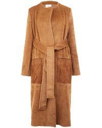 Edun Tan Collarless Suede Pocket Alpacablend Coat - Lyst