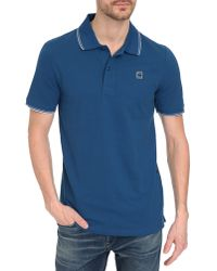 G-Star RAW Blue Mikan Polo With Blue And White Collar blue - Lyst