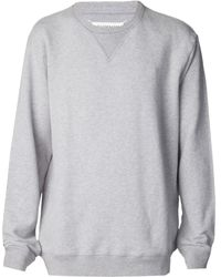 Maison Martin Margiela Grey Leather Elbow Sweater - Lyst
