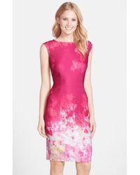 Adrianna Papell Women'S Floral Border Print Scuba Sheath Dress - Lyst