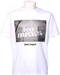 "Palm Angels   T-shirt Bianca Stampa ""skate""   Lyst"