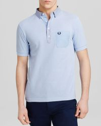 Fred Perry Woven Trim Polo - Slim Fit blue - Lyst