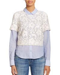 Elizabeth And James Carnie Layered Lace & Solid Shirt blue - Lyst