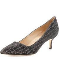 Manolo Blahnik Bb Metallic Crocprint 50mm Pump - Lyst