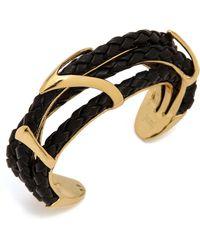 Alexis Bittar Leather Orbital Cuff Bracelet  Gold - Lyst