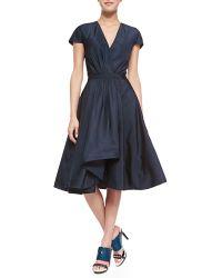 Jason Wu Short-Sleeve Silk Flounce Dress - Lyst
