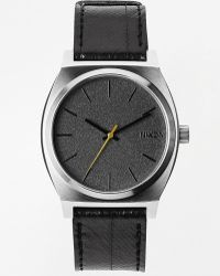 Nixon Time Teller Black Leather Strap Watch A045 - Lyst