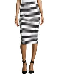 Lafayette 148 New York Striped Long Pencil Skirt - Lyst