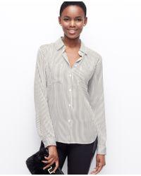 Ann Taylor Stripe Crepe Button Down Shirt - Lyst
