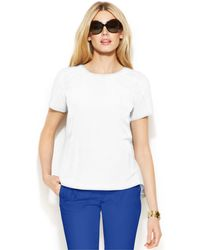 Michael Kors Michael Short-Sleeve High-Low Top white - Lyst