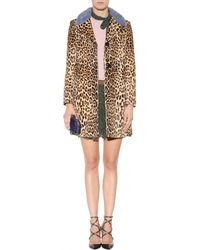 Valentino - Printed Calf Hair Coat With Mink Fur Collar - Lyst