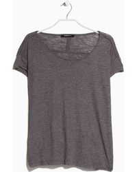 Mango Slub Cotton T-Shirt gray - Lyst