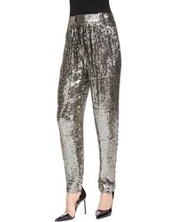 Alice + Olivia Sequined Trousers W Gathered Waist - Lyst