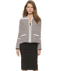 Thakoon Tweed Jacket With Raffia Trim - Black Multi - Lyst