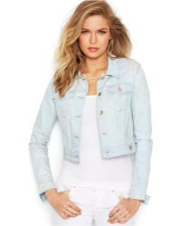 Guess Cropped Jean Jacket, Light Blue Floral Wash - Lyst