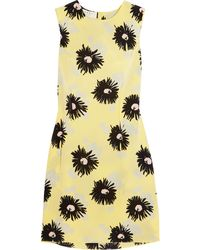 Marni Floral-Print Silk Crepe De Chine Dress - Lyst