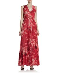 Halston Heritage Floralprint Pleated Maxi Dress - Lyst