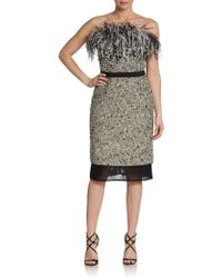 Giambattista Valli Strapless Feathertop Tweed Dress - Lyst