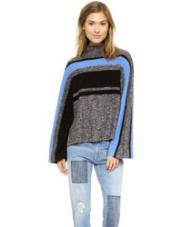 Tibi Striped Cape Pullover Grey Multi - Lyst
