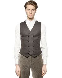 Giorgio Armani Wool Cashmere Blend Tweed Vest - Lyst