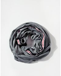 Asos Plain Infinity Scarf with Stripe Tape Detail - Lyst
