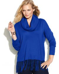 Michael Kors Michael Plus Size Cowl-neck Fringe Sweater - Lyst
