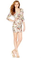 Guess Printed Bodycon Dress - Lyst