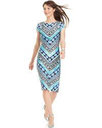 Eci - Cap-Sleeve Printed Dress - Lyst