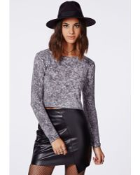 Missguided Macaria Long Sleeve Acid Wash Crop Top - Lyst