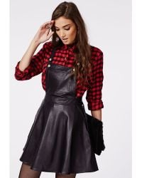 Missguided Octavia Faux Leather Dungaree Dress Black - Lyst