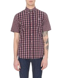 Fred Perry Tartan-Check Cotton Shirt - For Men, Navy Blue blue - Lyst