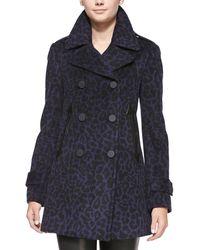 Rebecca Taylor Leopardprint Felt Pea Coat Sapphireblack 6 - Lyst