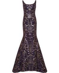 Oscar de la Renta Metallic-Jacquard Gown - Lyst