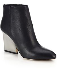 Jimmy Choo Myth Contrast Block-Heeled Leather Booties - Lyst