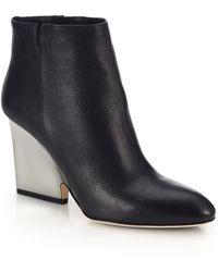 Jimmy Choo Myth Contrast Block-Heeled Leather Booties black - Lyst