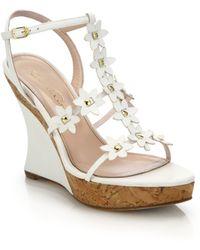Oscar de la Renta | Floral Laser-cut Leather Wedge Sandals | Lyst