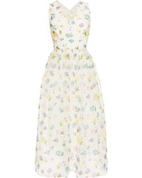 Vilshenko Florentina Floral Flock Print Cross Back Dress - Lyst