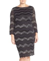 Marina - Metallic Lace Stripe Sheath Dress - Lyst
