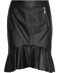 McQ by Alexander McQueen Ruffled Leather Mini Skirt - Lyst