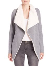 Guess - Sherpa-lined Cardigan - Lyst